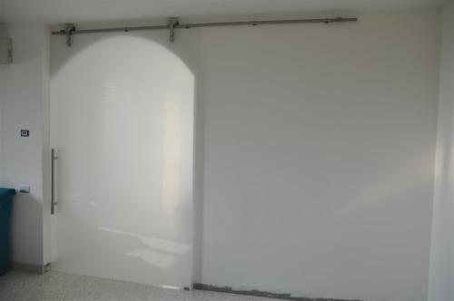 I14-Porta in vetro scorrevole con binario in acciaio